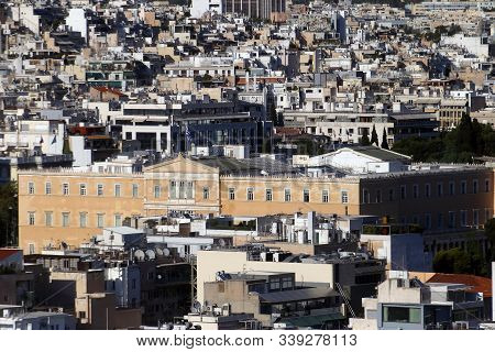 Athens, Greece - July 20, 2019: The Seat Of The Hellenic Parliament Photographed From The Acropolis