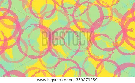 Creative Painted Circles Geometry Fabric Print. Round Shape Splotch Overlapping Elements Vector Seam
