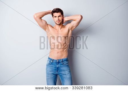 Photo Of Handsome Macho Man Guy Holding Hands Touch Perfect Hairdo Topless Sporty Torso Metrosexual