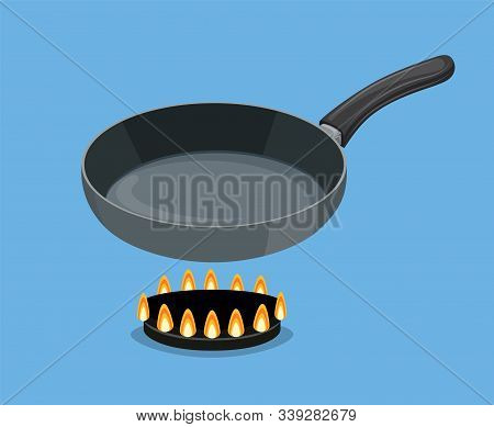 Pan On Blue Background. Empty Iron Frying Pan On High Heat. Kitchen Utensils For Cooking Food. Vecto