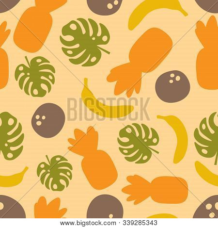 Vector Seamless Pattern With Pineapple, Coconut, Banana, Monster, Tropical Fruits. For Design Packag