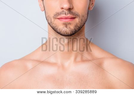 Close-up Cropped View Portrait Of His He Nice Attractive Content Serious Guy Unshaven Mustache Chin