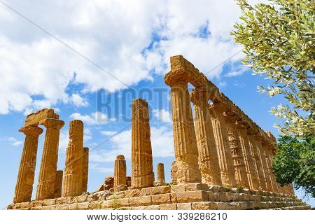 Temple Of Hera Lacinia Or Juno On Highest Rocky Spur Of The Valley Of Temples