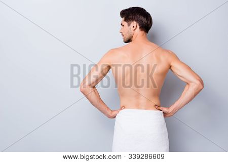 Back Rear Profile Side Photo Of Handsome Macho Man Stand Look Copyspace After Gym Training Gym Showe
