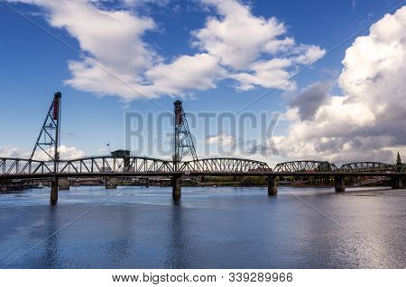 Hawthorne Bridge - A Truss Bridge With A Vertical Lift That Spans The Willamette River In Portland,