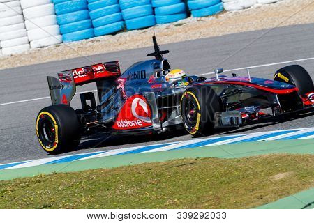Jerez De La Frontera, Spain - Feb 10: Lewis Hamilton Of Mclaren F1 Races On Training Session On Febr