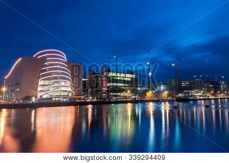 Dublin, Ireland - November 5, 2019: Riverbank With Convention Centre Dublin At Night.