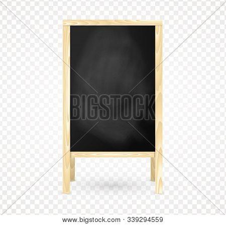 Blank Wooden Frame Blackboard, Isolated Chalkboard Menu. A-frame Black Board For Cafe And Restaurant