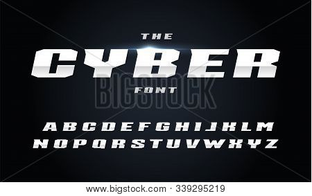 Cyber Style Letters Set. Bold Italic Steel Alphabet With Slant. Font For Fast And Power Effect, Auto