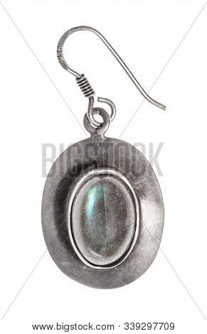 Antique Simple Silver Earring With Labradorite Gem Isolated On White Background