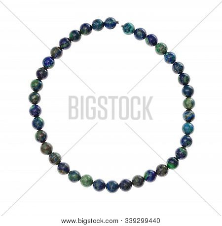Top View Of String Of Beads From Natural Azurite Gemstone Isolated On White Background