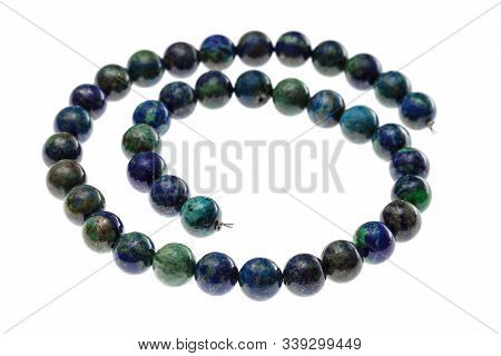 Spiral String Of Beads From Natural Azurite Gems Isolated On White Background