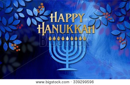 Graphic Illustration Of Hanukkah Menorah With Happy Hanukkah Holiday Message Amid Simple Cluster Of