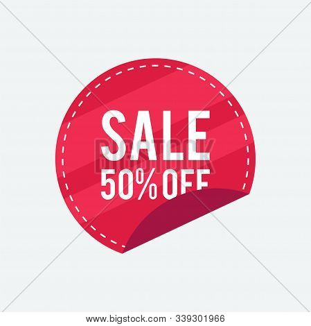 50% Sale Label Collection, Clearance Sale Sticker Emblem, Bargain Sale Red Sign Isolated On White Ba