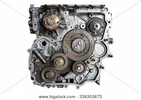 Car Engine In The Garage For Maintenance. Repair Service , On White Background