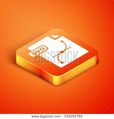 Isometric Svg File Document. Download Svg Button Icon Isolated On Orange Background. Svg File Symbol