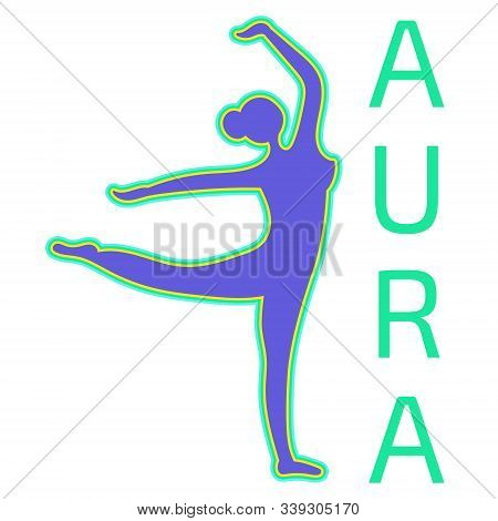 Silhouette Of A Dancing Girl With A Positive Aura. Paranormal Phenomenon Of Aura Testing. Diagnosis