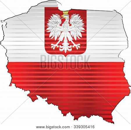 Shiny Grunge Map Of The Poland - Illustration,  Three Dimensional Map Of Poland