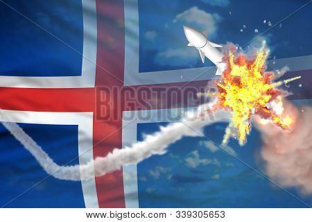 Iceland Intercepted Supersonic Warhead, Modern Antirocket Destroys Enemy Missile Concept, Military I