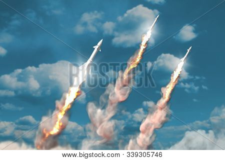 Modern Strategic Rocket Forces Concept On Blue Sky Background, Ballistic Missile Attack - Military 3