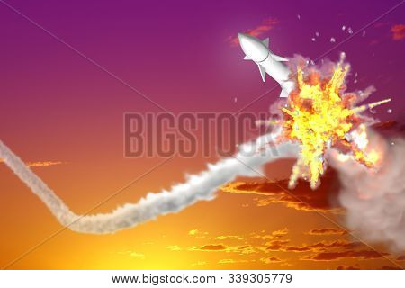 Nuclear Missile Interception On Sunset Sky Background, Modern Antirocket Destroys Enemy Missile Conc