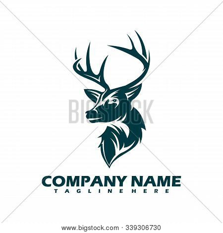 Mono Line Design Deer Head Isolated White Background. Deer Head Gold Logo Icon. Deer Icon Art. Deer