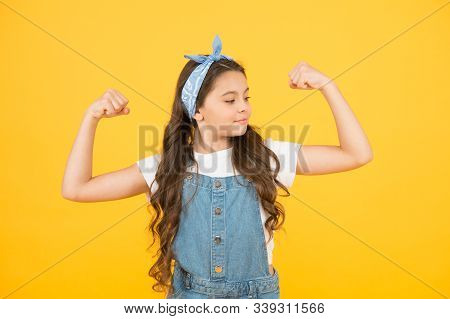 Strong Baby. Fashion Trend. Summer Vacation. Girl Long Curly Hair Bandana Knot. Little Fashionista.