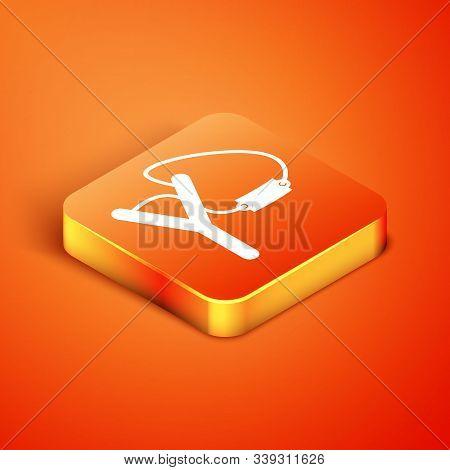 Isometric Slingshot Icon Isolated On Orange Background. Vector Illustration