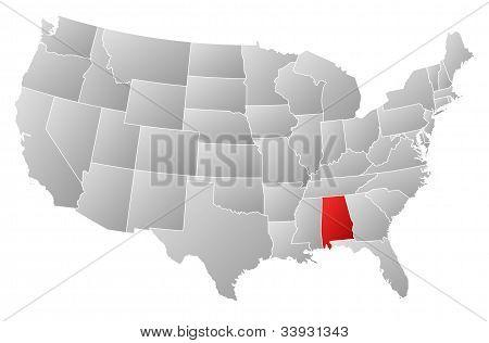 Karta över USA, Alabama belyst
