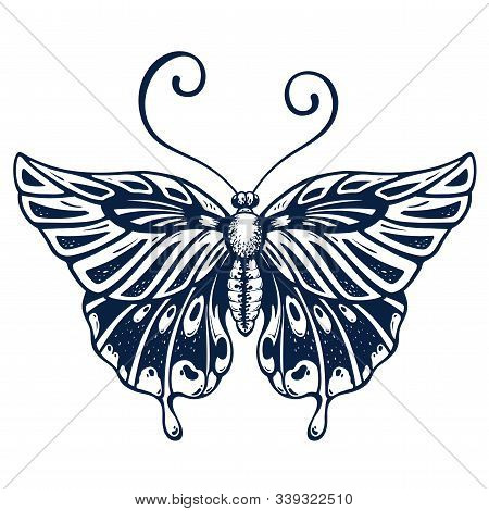 Beautiful Butterfly Tattoo On Body . Butterfly Is Symbol Of Diving Soul. Fashionable New Tattoo Desi