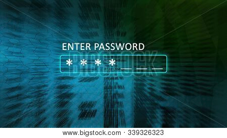 Enter Your Password Concept Screen With A Password Box And Asterisks. Abstract Blurred Background Bl