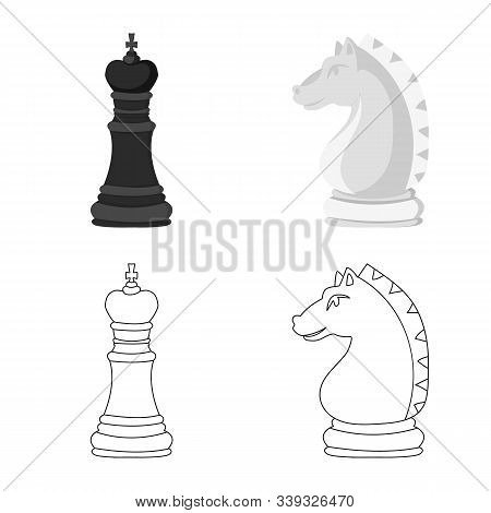 Vector Illustration Of Checkmate And Thin Symbol. Collection Of Checkmate And Target Vector Icon For