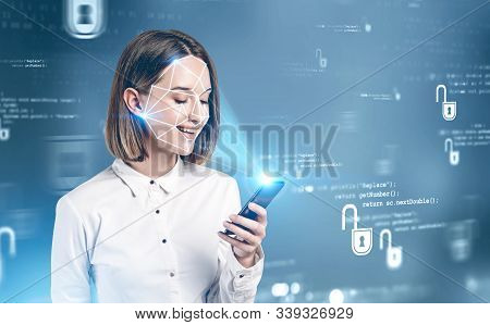 Smiling Young Woman In Formal Clothes Using Smartphone With Face Recognition Technology Over Blurry