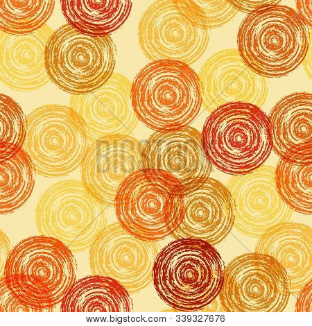Seamless Pattern From Circles Of Shades Of Orange From Brush Strokes For Textiles, Packaging, Paper