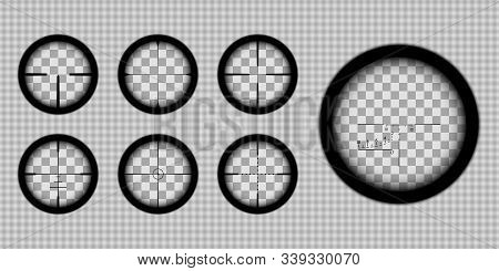 A Look Through Sniper Or Hunting Rifle Scope With Various Reticles, Set Of Realistic Optical Sights