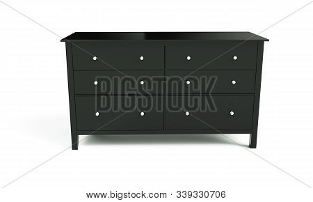 Wooden Dresser Isolated On White Background. 3d Render