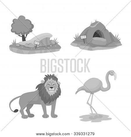 Vector Design Of Zoo And Park Icon. Set Of Zoo And Animal Stock Symbol For Web.