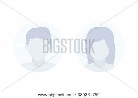 Avatars, Default Photo Placeholders, Man And Female Profile Vector Pictures, Eps 10 File, Easy To Ed