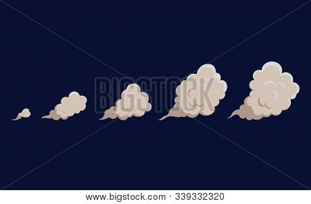 Smoke Cloud Explosion For Animation. Cartoon Cloud Of Fire, Dust Puff From Speed Motion, Blast Of Bo