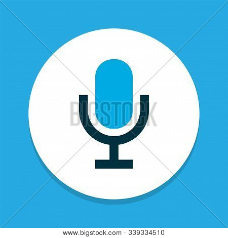 Microphone Icon Colored Symbol. Premium Quality Isolated Mike Element In Trendy Style.