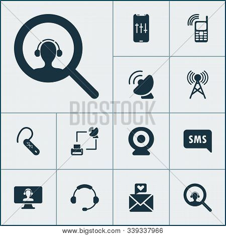 Communication Icons Set With Ip Camera, Communication Tower, Audio Adjustment And Other Assistant El