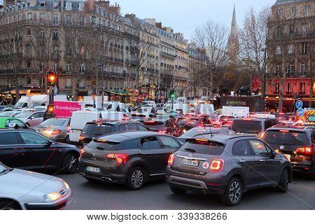 Paris, France - December 10, 2019: Traffic Congestion In Paris, France. Traffic Jams Have Intensifie