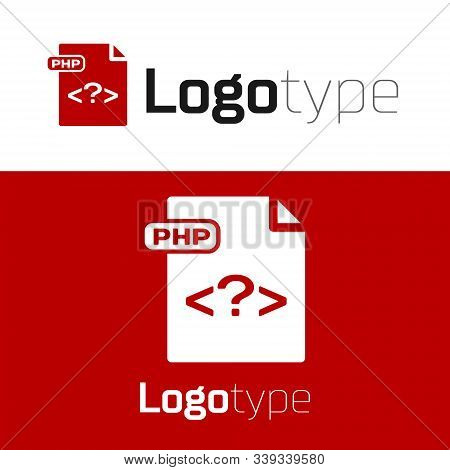 Red Php File Document. Download Php Button Icon Isolated On White Background. Php File Symbol. Logo