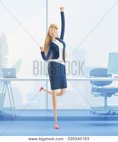 Young Business Woman Emma Jumping Celebrating Victory. 3d Illustration