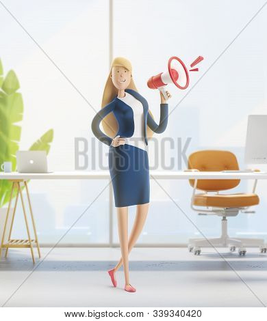 Young Business Woman Emma Standing With A Loudspeaker In The Office Interior. 3d Illustration
