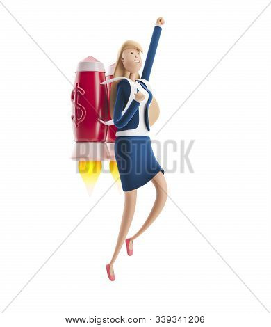 Young Business Woman Emma Flying Off With Jet Pack. 3d Illustration. Business Concept Career Boost,