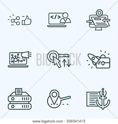 Optimization Icons Line Style Set With Custom Coding, Sort Keywords, Website Optimization And Other