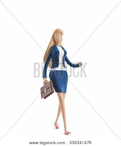 Young Business Woman Emma Walk With Briefcase On A White Background. 3d Illustration