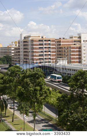 Residential Area In Singapore With Lrt.