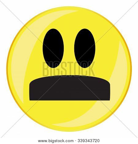 A Walrus Mustache Smile Face Button Isolated On A White Background